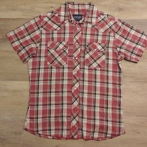 Wrangler Western Plaid Pearl Snap Button Shirt